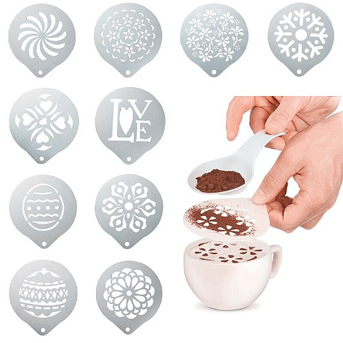 Fancy Coffee Stencils Thicken Model Stainless Steel Drawing Die Mold Coffee Milk Foam Spray Template Cafe Coffeeware Tool