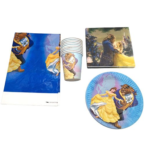 Girls Favors Tablecloth Beauty and Beast Napkins Baby Shower Decoration Happy Birthday Party Cups Plates Tableware Set 61pcs/lot