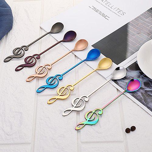 7 Types Stainless Steel Musical Notes Spoon Creative Milk Coffee Spoon Stirring Mug Music Bar Ice Cream Creative Gift Cucharas