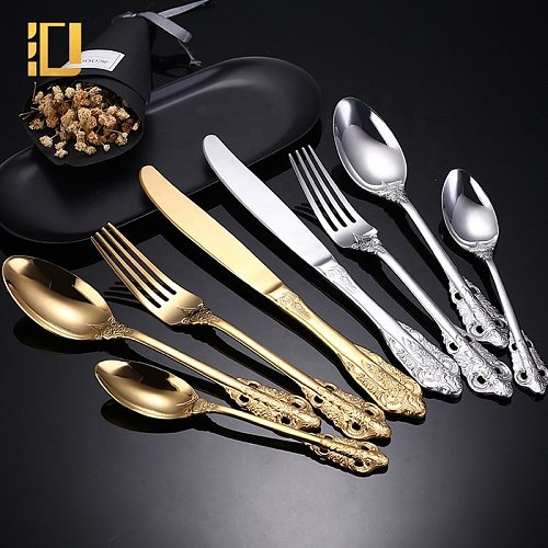 24Pcs Baroque Style Royal Cutlery Set Gold Luxury Dinnerware Stainless Steel Knife Fork Spoon Tableware Suitable Dishwasher