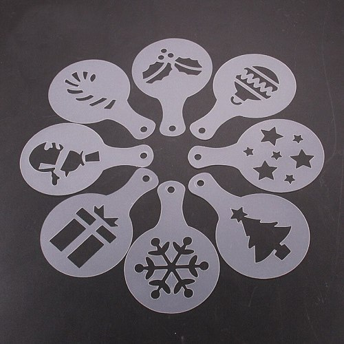 8pcs/set 8.5cm Plastic Cookie DecorationTemplate Mold Cake Stencils Mold Christmas Coffee Mold Pastry Tools