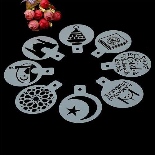 Eid Mubarak Ramadan White Plastic Coffee Printing Template Spray Stencil Fondant Cake Biscuits Decoration Tools 8pcs/set