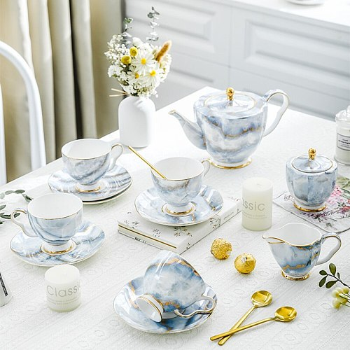 Nordic Bone China Coffee Set Gold Porcelain Tea Set Pot Cup Luxury Ceramic Teacup Sugar Bowl Creamer Teapot Milk Jug Coffeeware