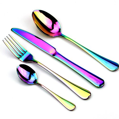Creative Stainless Steel Colorful Cutlery Set 1pc Rainbow Dinner Set Travel Dinnerware Fork Knife For Wedding And Hotel 1 pcs