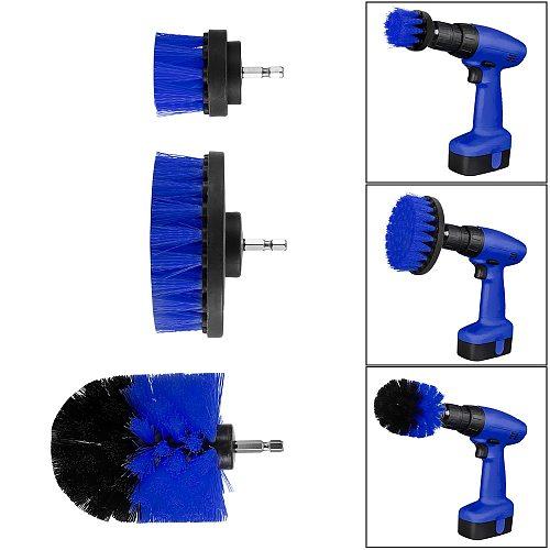 3Pcs/Set Electric Drill Brush Kit Plastic Round Cleaning Brush For Carpet Glass Car Tires Nylon Brushes Power Scrubber Blue