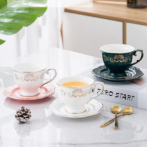 Ceramic Coffee Cups & Saucers Set Pink Green White Coffee Mug Drinkware Porcelain European Style Palace Afternoon Tea Coffeeware