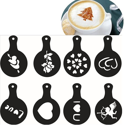 Coffee Printing Model 8 Funny Patterns/set Food Grade PP Plastic Coffee Stencils Make Fancy Cappuccino Coffee Latte For Party