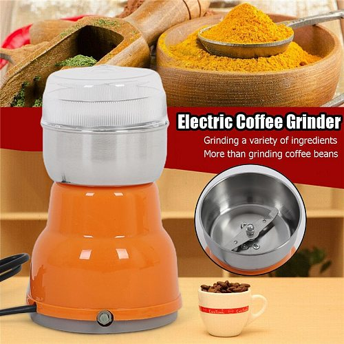 Electric Coffee Grinder Plastic Stainless Steel Coffee Bean Grinding Machine Home Kitchen Spice Nuts Seeds Salt Pepper Grinder