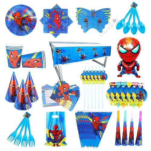 Spider Man Party Paper Cups Plates Straws Bags Tablecloth Baby Shower Decorations High Quality Boys Party Birthday Supplies