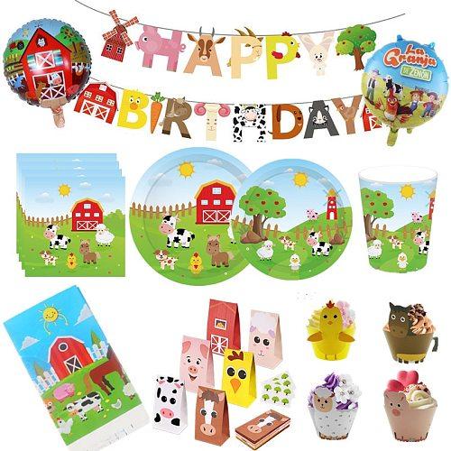 Farm Animal Birthday Party Supplies Paper Napkins Farm Decor Birthday Disposable Tableware Plate Farm Tablecloth Cup