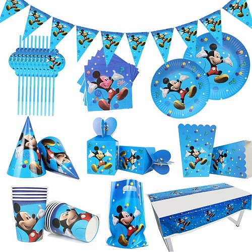 Cartoon Disney Mickey Mouse Theme Kids Favor Birthday Pack Event Party Cups Plates Baby Shower Disposable Tableware Supplies