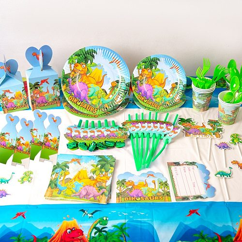 Dinosaur Theme Party Supplies Paper Plates Cups Tableware Baby Shower Birthday Party Decorations For Kids Party Supplies