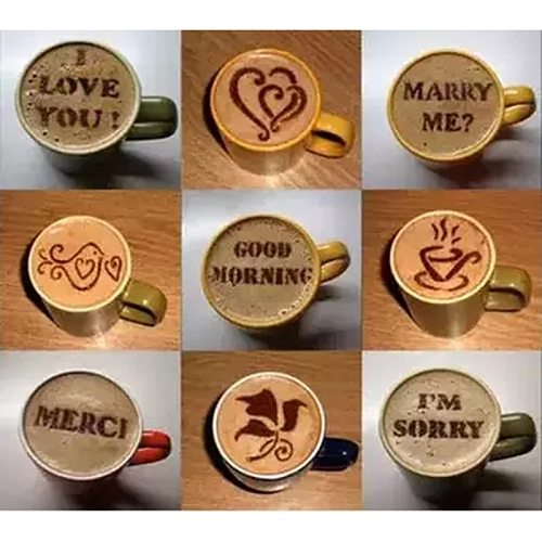 Coffee Printing Model 16pcs Cappuccino Coffee Stencils Template Chocolate Shaker Cocoa Flour Spray Strew Flower Pad Coffee Tools