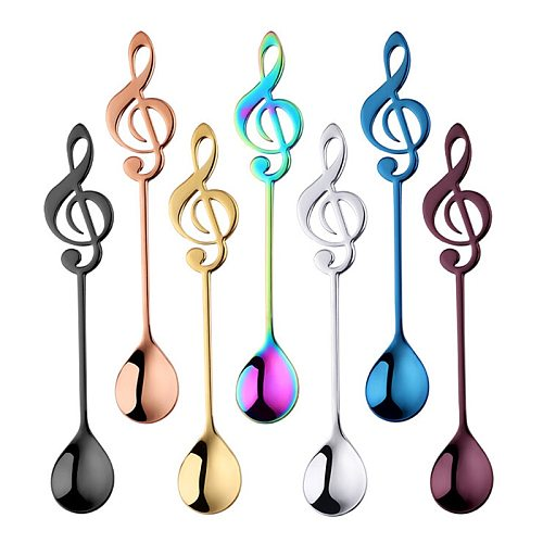 1Pcs Stainless Steel Spoon Musical Notes Coffee Spoon Ice Cream Dessert Tea Spoon Stirring Spoon Tableware Kichen Accessories