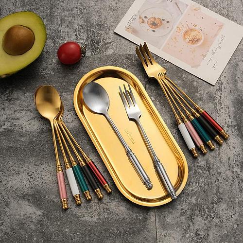 2021 Stainless Steel Coffee Spoon Fork Set Tea Spoon Teaspoon Ice Cream Dessert Gift Tableware Coffeeware Kitchen Accessories