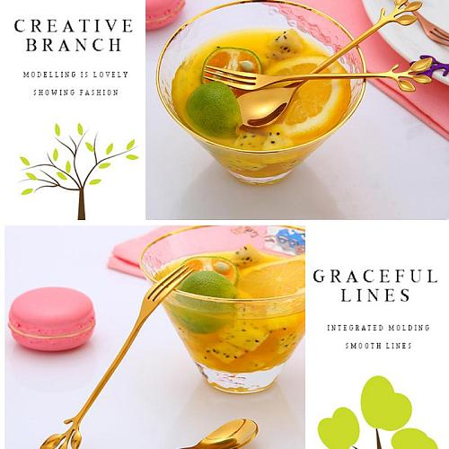 1pcs Branch/leaf Design Coffee Drink Mixing Spoons Fork Mini Metal Gold Coffee Snacks Fruit Dessert Fork Kitchen Tool Teaspoon