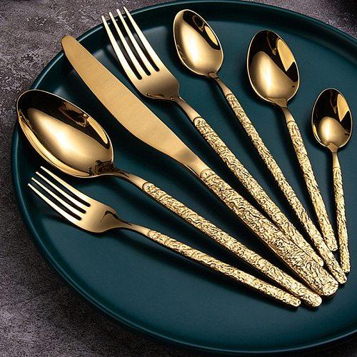 Stainless steel Western Cutlery set Knife Fork Spoon Dinner Set Dessert Dinnerware Western Steak Knife Tableware Spoon Fork