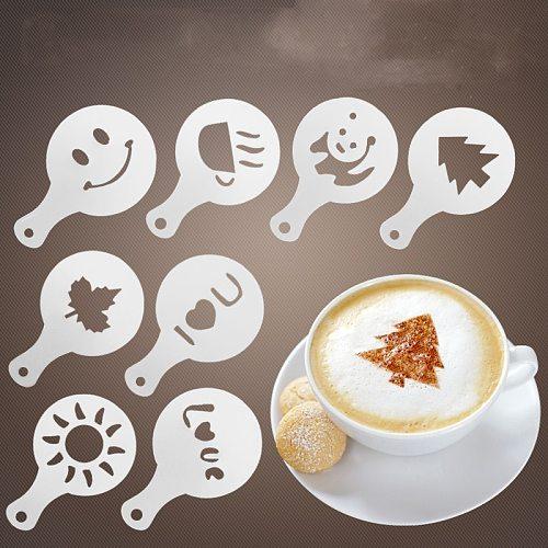 16Pcs/Set Coffee Latte Cappuccino Barista Art Stencils Cake Duster Templates Strew Flowers Pad Duster Spray Coffee  Accessories