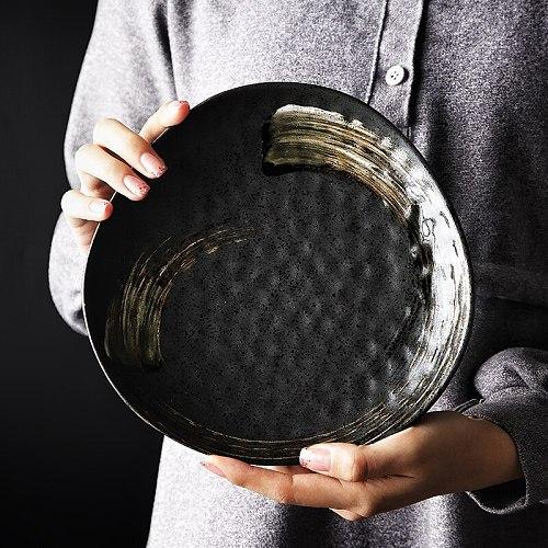 Creative Japanese Ceramic Dishes Dinner Plate Ceramic Bowl Hand-painted  Dining Tableware Shaped Triangular Dining Steak Plate