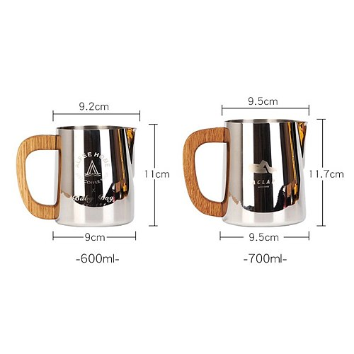600ml Wooden Handle Coffee Milk Frothing Jug Titanium Plating Barista Pitcher Mug Stainless Steel Milk Jug For Competition
