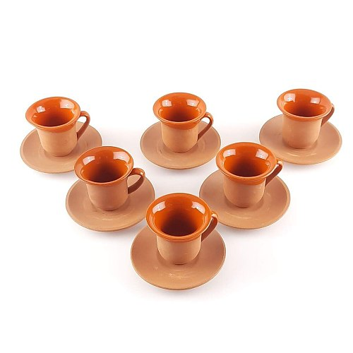 Mugs Clay Turkish Coffee Set Set in Espresso Patterned Argil Coffeeware Arabic Coffee Cup Set Orange Set 100 Natural 12 pcs