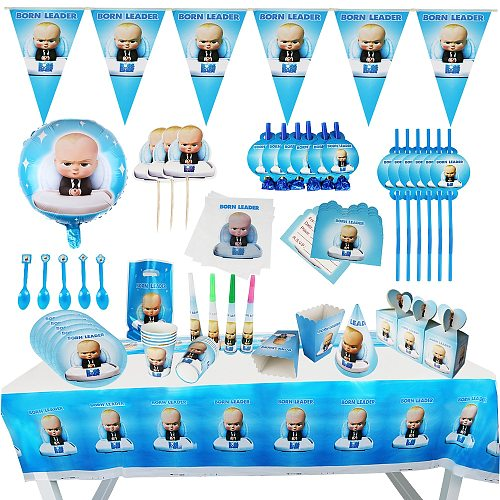 New Boss baby Party supplies Set Box Napkins Plates Tablecloth Cups Knives Forks Spoons Spiderman Birthday Party Decoration Kids