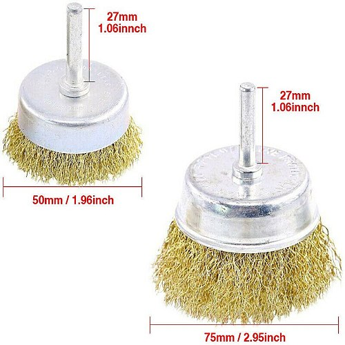 9pcs Brass Coated Wire Brush Wheel and Cup Brush Set,9 Sizes Coated Wire Drill Brush Set for Rust Removal Garden Tools Accessory