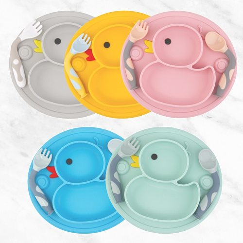 Qshare Baby Duck Dishes Silicone Plate Suction Tray Antislip Mini Mat Toddler Placemat Kids Food Feeding Bowl