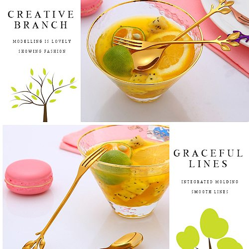 Creative Branch Leaves Spoon And Fork Food Grade Stainless Steel Coffee Spoon Dessert  Cheese Fruit Fork For Children Christmas
