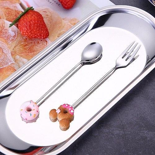 Candy Small Mini 304 Stainless Steel Doughnut Donuts Coffee Spoon Fruit Stirring Spoon Teaspoon Dessert Tea Spoon Tableware