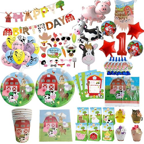 Farm Animal Tableware Paper Cup Plate Napkins Set Kids Farm Birthday Party Decoration Cake Wrapper Balloon Baby Shower Supplies