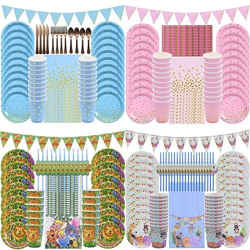 Birthday Disposable Tableware Set Pink Blue Paper Plates Paper Cups for Jungle Party Wedding Supplies Birthday Party Cake Plates