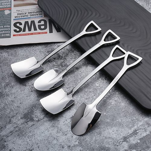 4PCS 304 stainless steel coffee spoon Retro shovel ice cream spoon Creative tea-spoon Fashion Tableware Kitchen Set Tool Lot