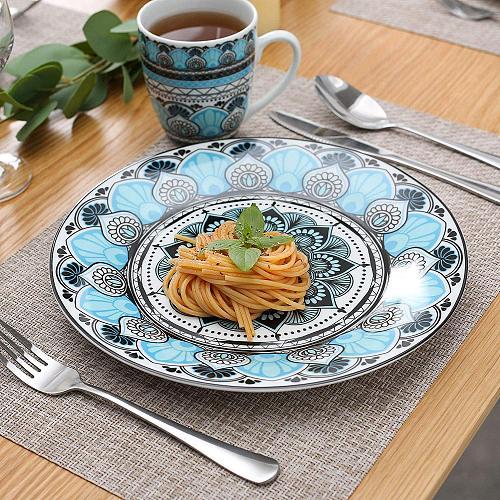 VEWEET AUDRIE 32-Piece Ceramic Porcelain Dinner Plate Tableware Set with Dinner Plate,Dessert Plate,Cereal Bowl,380ml Mug Set