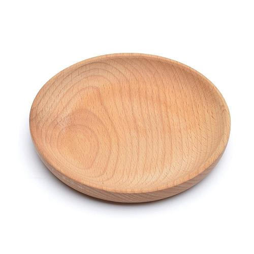 Round Plate Snack Wooden Cake Fruits Dish Room Dessert Service Tray Eco-friendly Sushi Tableware Party For Home Hotel School 30P