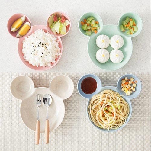 Wheat Straw Baby Cartoon Tableware Set Children's Dishes Kids Dinner Platos Baby Feeding Plate Training Bowl Spoon Fork trays