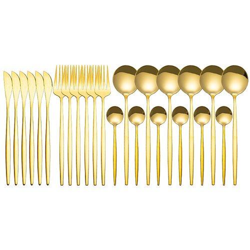 24Pcs/Set Stainless Steel Black Gold Cutlery Dinner Dinnerware Set Knife Fork Coffee Spoon Cutlery Set Kitchen Tableware Sets