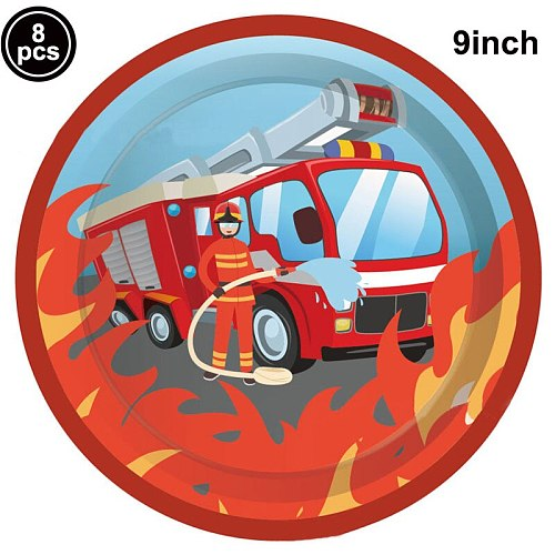 Fireman Birthday Party Disposable Plates Cups Straw Baby Shower Firefighter Theme 3th 4th 5th  Birthday Party Supplies
