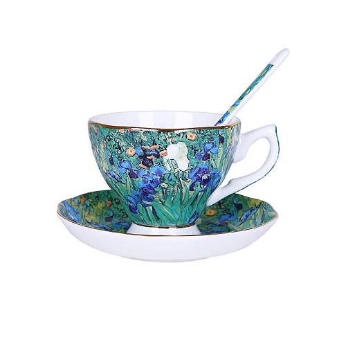 Van Gogh Painting Bone China Ceramic Coffee Cup and Saucer Sets With Spoon Coffeeware Gift 6PCS
