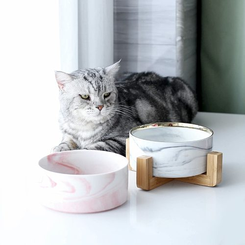 Marbling Ceramic Double Bowl For Dog Cat Puppy Water Food Drinking Feeder Small Animal Dispenser Multifunction Pet Product #P005