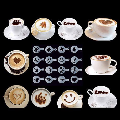16Pcs Plastic Fancy Coffee Latte Mold Cappuccino Barista Art Stencils Cake Duster Templates Decor Kitchen Tools Accessories
