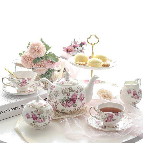 Tea Cup Set Bone China British Royal Rose Tea Pot Teacup Saucer Creamer Sugar Bowl Fruit Plate Teaware Set Coffeeware Supplier