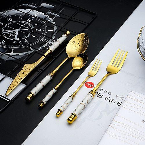 Gold Tableware Set Ceramic Handle Fork Spoon Knife Set Stainless Steel Cutlery Set Dishwasher Safe Dinnerware Dinner Sets 5pcs