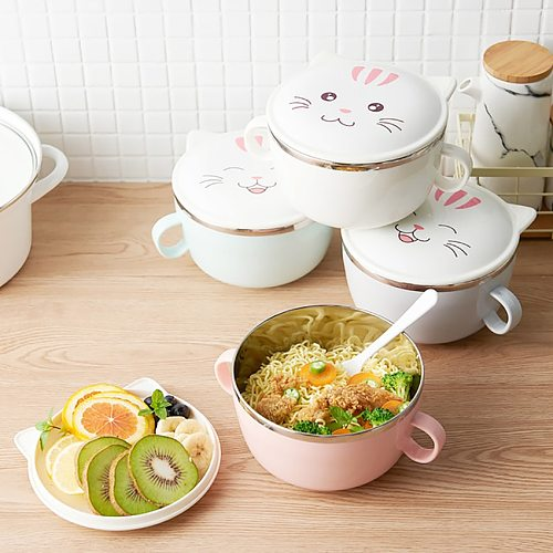 Cute Cat Stainless Steel Mixing Bowls with Lids, Dual Handle, Heat Preservation Instant Noodle Bowl Round Rice Soup Bowl
