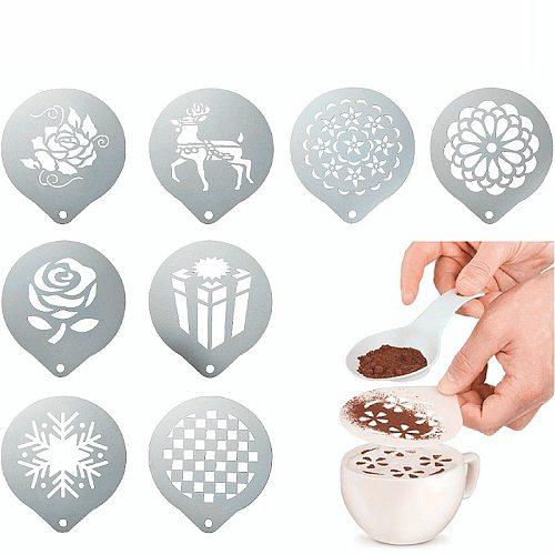 Fancy Coffee Stencils Print Model Stainless Steel Drawing Die Garland Mold Coffee Milk Foam Spray Template Cafe Coffeeware Tool