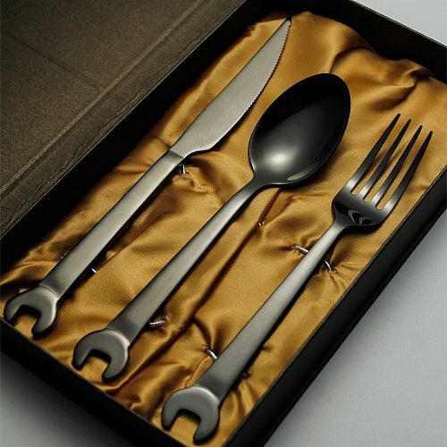Jishi 304 stainless steel tableware creative wrench stainless steel cutlery fork black gold plated cutlery fork spoon gift set
