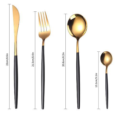 24pcs Upscale Gold Dinnerware Set Stainless Steel Tableware Set Knife Fork Coffee Spoon Flatware Set Dishwasher Safe Cutlery Set