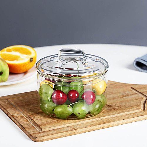 Heat-resistant Glass Bowl Transparent Fruit Dessert With Lid Candy Box Children's Salad Bowl Kitchen Food Storage Container