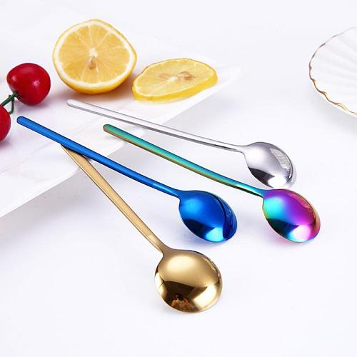 2021 New 1Pc 13cm Length Round Shape Stainless Steel Coffee Spoon Dessert Ice Cream Fruit Spoon Teaspoons Dropshipping