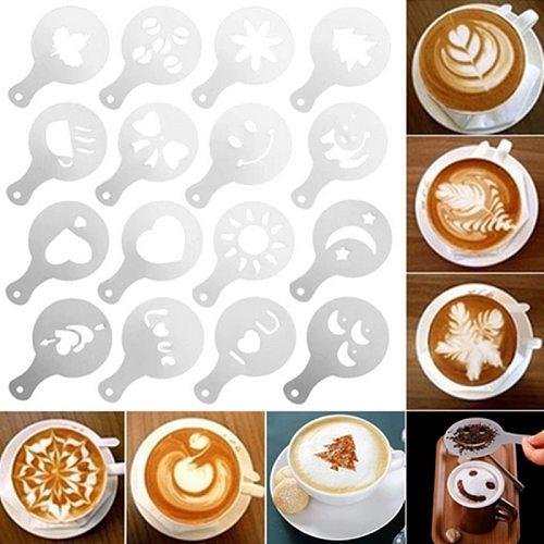 16pcs/set Of Coffee Printing Model Foam Spray Template Barista Mold Decoration Tool Garland Mold Coffee Decoration Tool